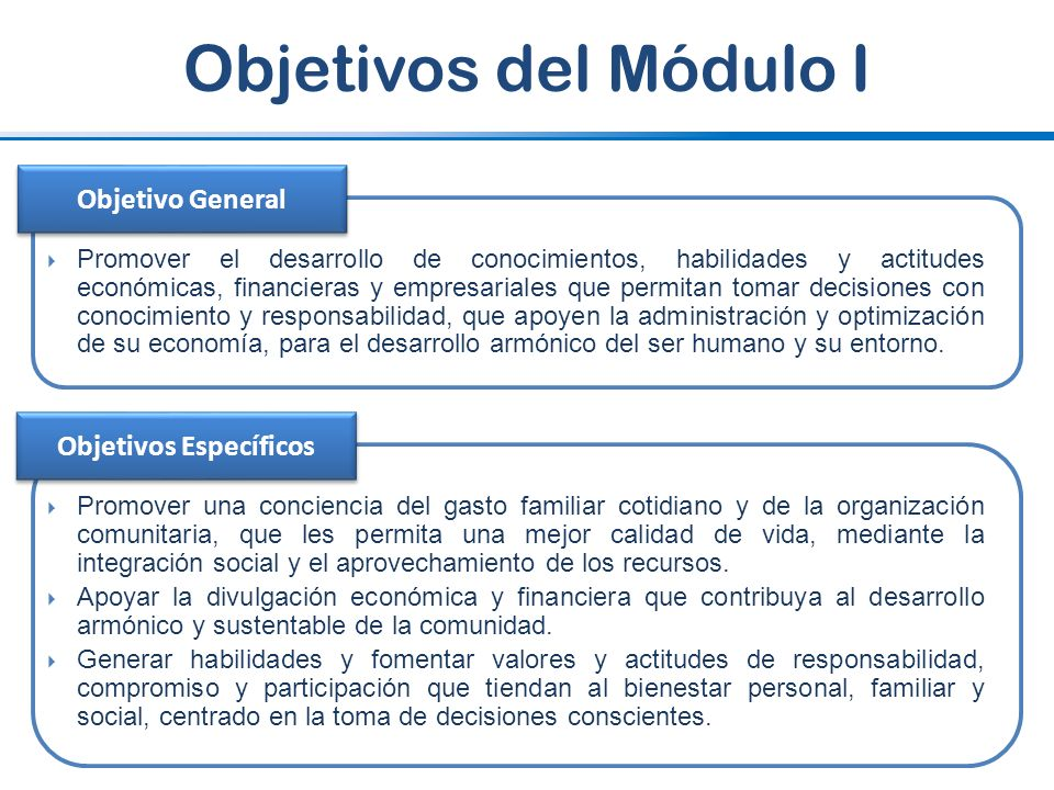 Objetivos del Módulo I Promover el desarrollo de conocimientos, habilidades y actitudes económicas, financieras y empresariales que permitan tomar dec