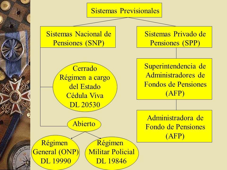 Sistemas Previsionales Sistemas Nacional de Pensiones (SNP) Sistemas Privado de Pensiones (SPP) Administradora de Fondo de Pensiones (AFP) Superintend