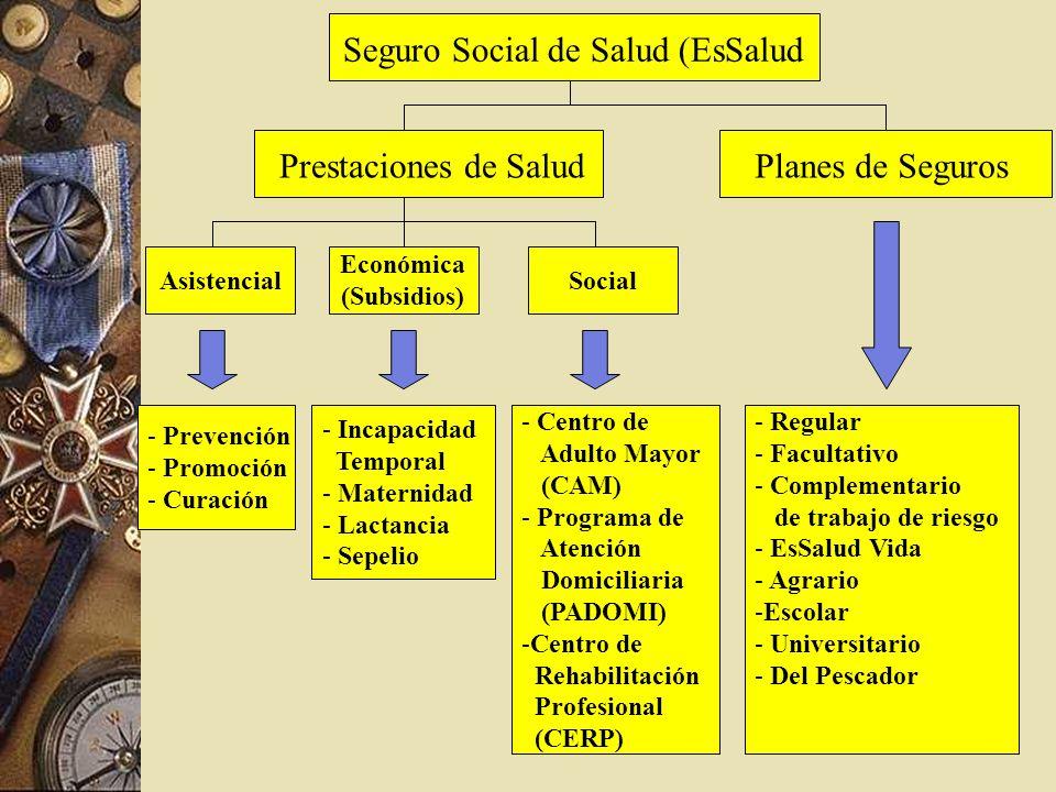 Seguro Social de Salud (EsSalud Prestaciones de SaludPlanes de Seguros Asistencial Económica (Subsidios) Social - Prevención - Promoción - Curación -
