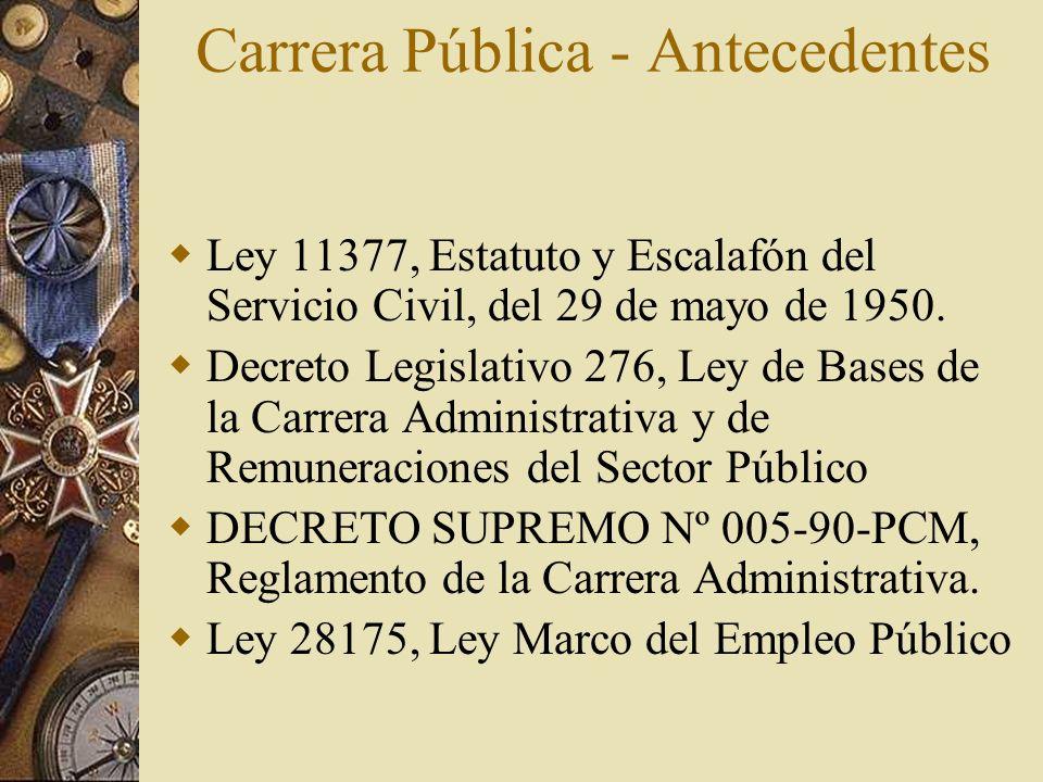 Carrera Pública - Antecedentes Ley 11377, Estatuto y Escalafón del Servicio Civil, del 29 de mayo de 1950. Decreto Legislativo 276, Ley de Bases de la