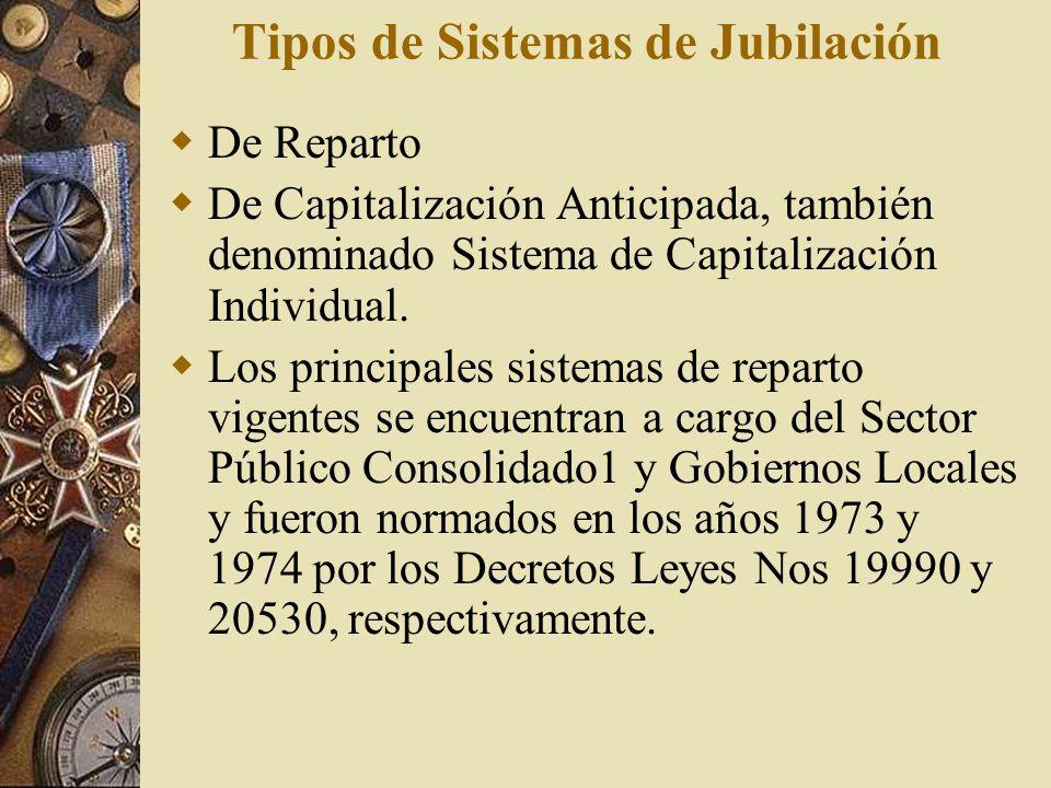 Tipos de Sistemas de Jubilación De Reparto De Capitalización Anticipada, también denominado Sistema de Capitalización Individual. Los principales sist