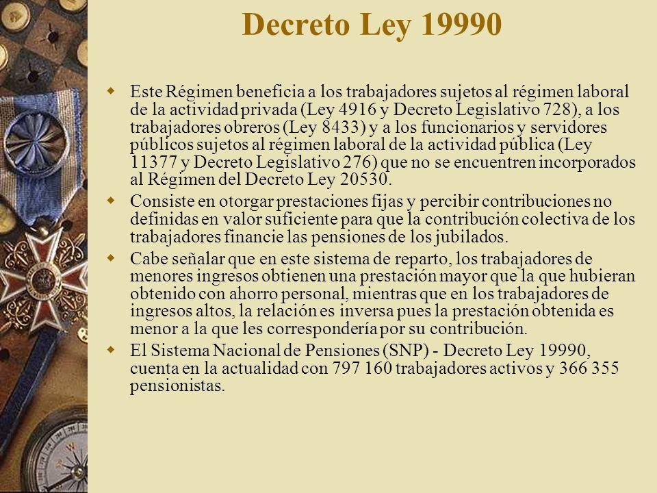 Decreto Ley 19990 Este Régimen beneficia a los trabajadores sujetos al régimen laboral de la actividad privada (Ley 4916 y Decreto Legislativo 728), a