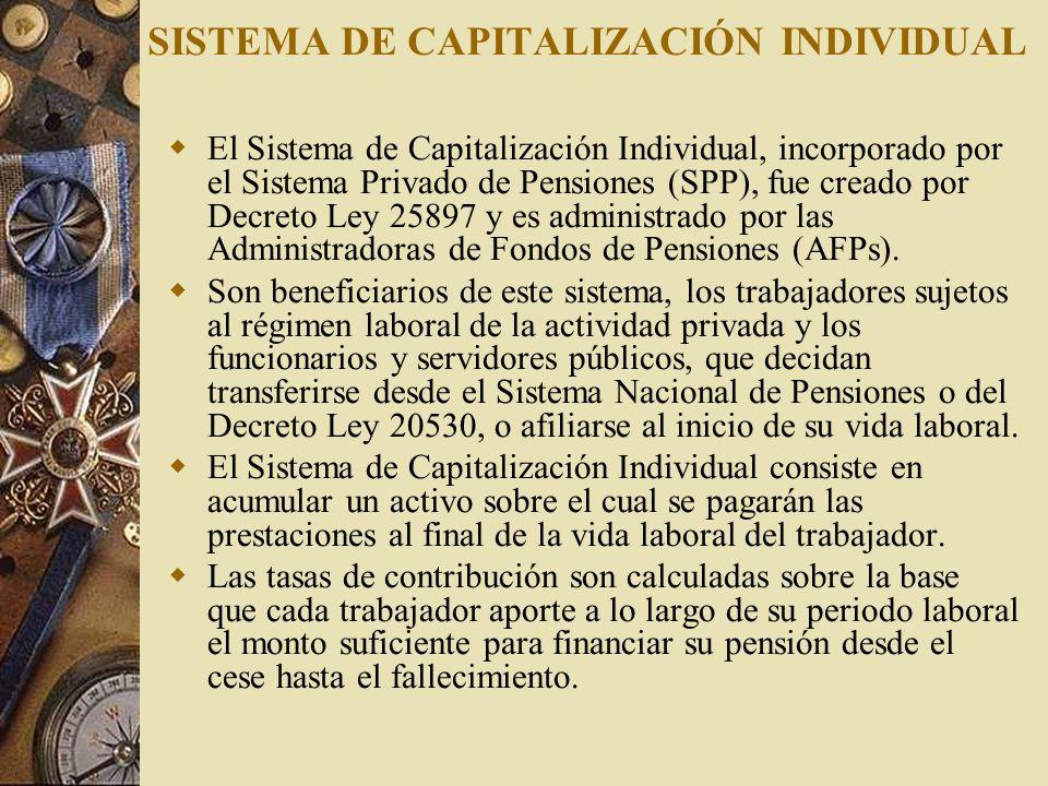 SISTEMA DE CAPITALIZACIÓN INDIVIDUAL El Sistema de Capitalización Individual, incorporado por el Sistema Privado de Pensiones (SPP), fue creado por De