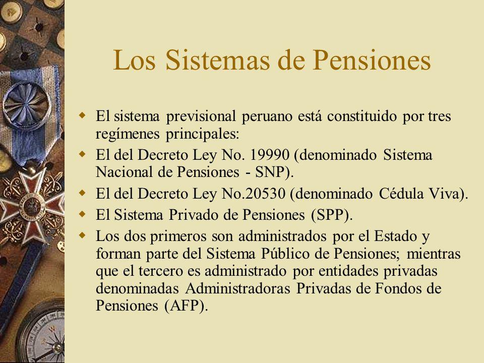 Los Sistemas de Pensiones El sistema previsional peruano está constituido por tres regímenes principales: El del Decreto Ley No. 19990 (denominado Sis
