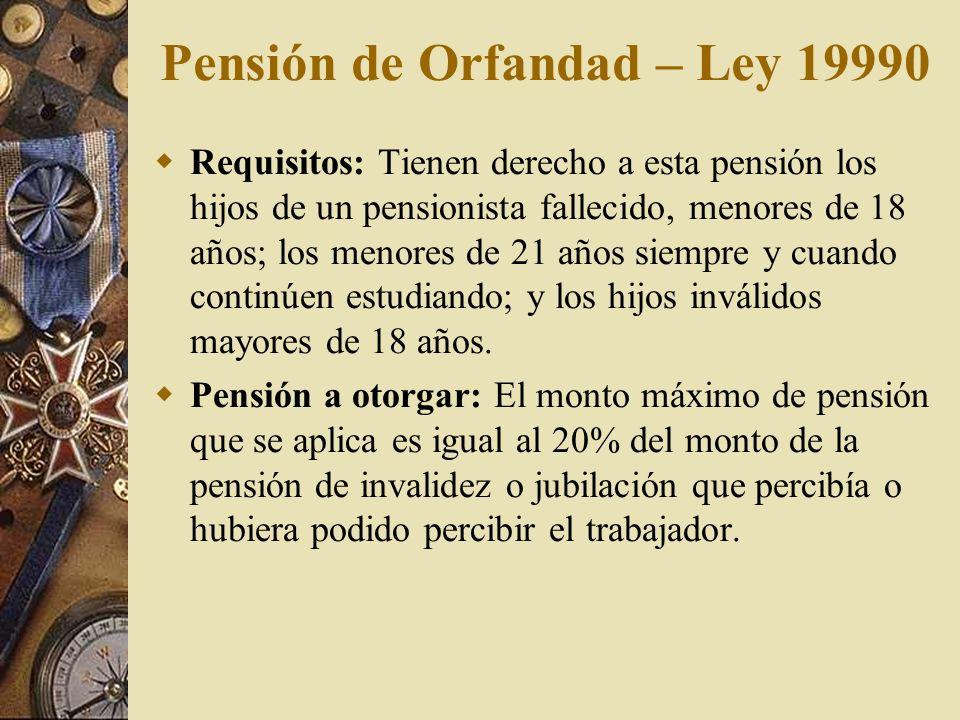 Pensión de Orfandad – Ley 19990 Requisitos: Tienen derecho a esta pensión los hijos de un pensionista fallecido, menores de 18 años; los menores de 21
