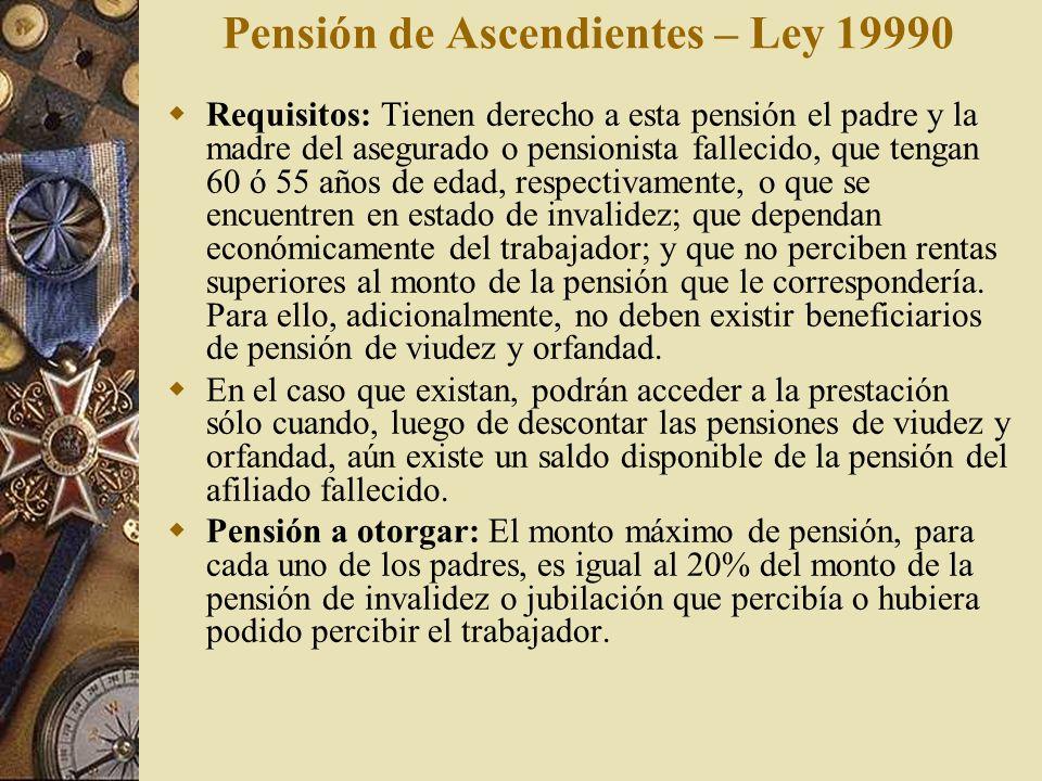 Pensión de Ascendientes – Ley 19990 Requisitos: Tienen derecho a esta pensión el padre y la madre del asegurado o pensionista fallecido, que tengan 60