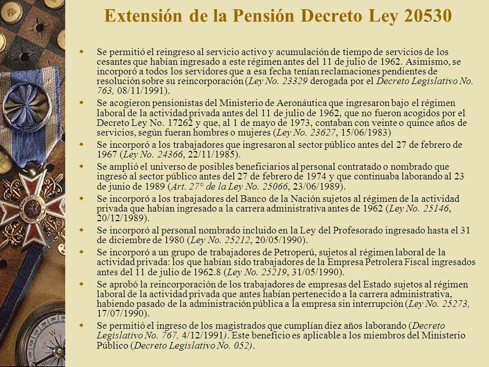 Extensión de la Pensión Decreto Ley 20530 Se permitió el reingreso al servicio activo y acumulación de tiempo de servicios de los cesantes que habían