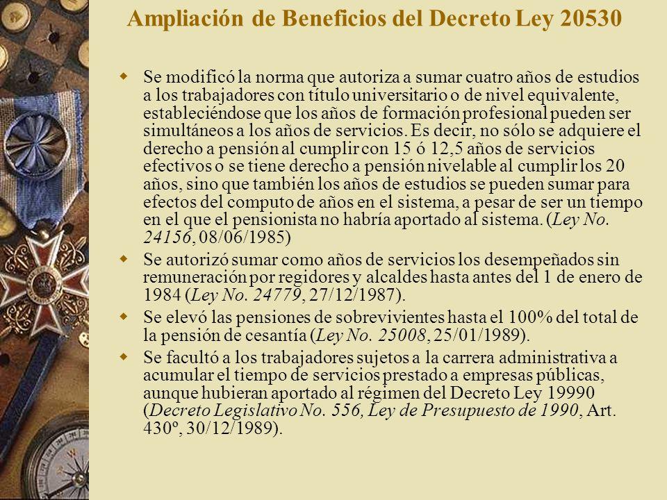 Ampliación de Beneficios del Decreto Ley 20530 Se modificó la norma que autoriza a sumar cuatro años de estudios a los trabajadores con título univers