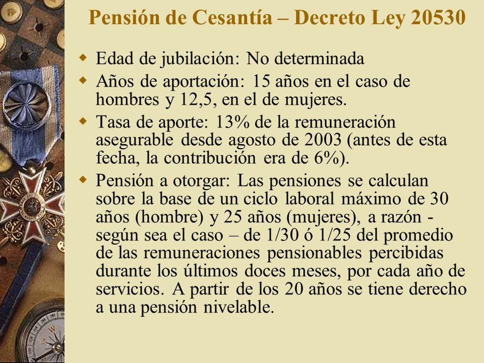 Pensión de Cesantía – Decreto Ley 20530 Edad de jubilación: No determinada Años de aportación: 15 años en el caso de hombres y 12,5, en el de mujeres.