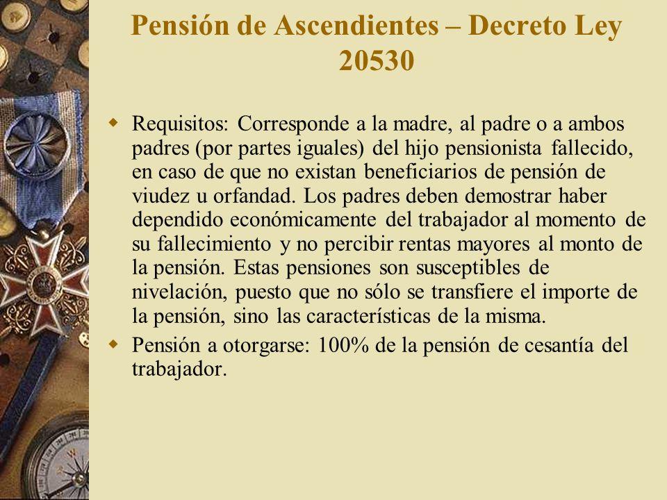 Pensión de Ascendientes – Decreto Ley 20530 Requisitos: Corresponde a la madre, al padre o a ambos padres (por partes iguales) del hijo pensionista fa