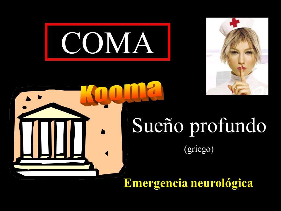 COMA METABOLICO Hipoglucemia - Hiperglucemia Hiponatremia- Hipernatremia Narcosis por CO 2 Encefalopatía hepática Encefalopatía urémica - insuficiencia renal Enfermedad de Addison (insuficiencia suprarrenal) Hipotiroidismo (coma mixedematoso) Hipertiroidismo (crisis tirotóxica- tormenta tiroidea) Hipopituitarismo (hipoglucemia) Hipercalcemia