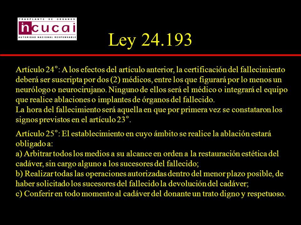 Ley 24.193 Artículo 24°: A los efectos del artículo anterior, la certificación del fallecimiento deberá ser suscripta por dos (2) médicos, entre los q