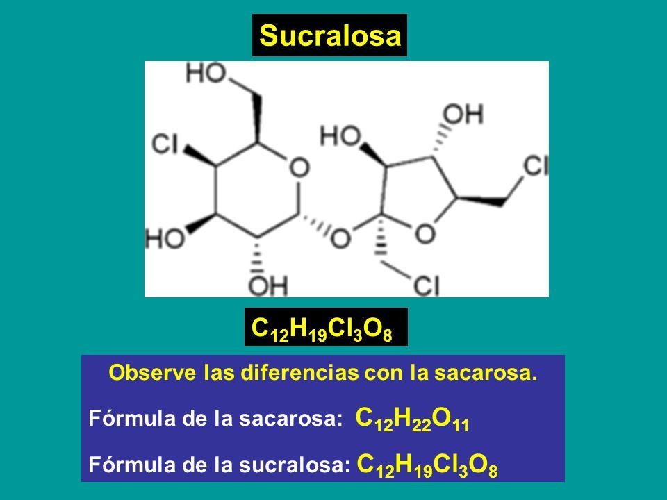 Sucralosa C 12 H 19 Cl 3 O 8 Observe las diferencias con la sacarosa. Fórmula de la sacarosa: C 12 H 22 O 11 Fórmula de la sucralosa: C 12 H 19 Cl 3 O