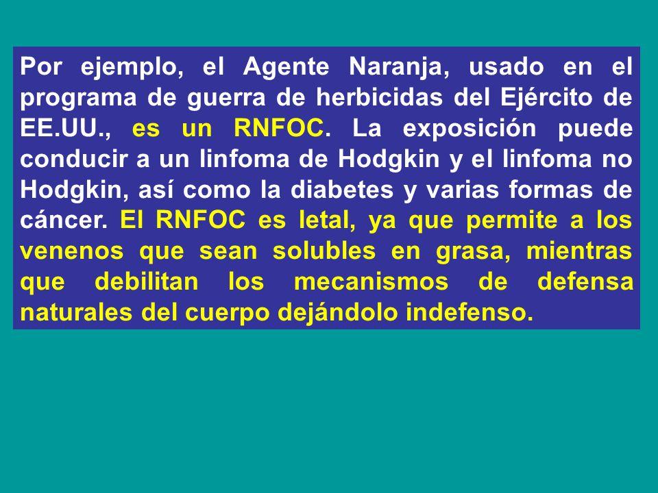Por ejemplo, el Agente Naranja, usado en el programa de guerra de herbicidas del Ejército de EE.UU., es un RNFOC. La exposición puede conducir a un li