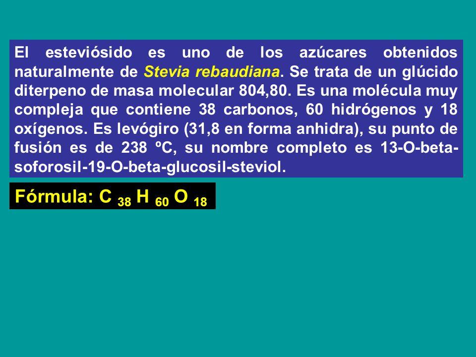 El esteviósido es uno de los azúcares obtenidos naturalmente de Stevia rebaudiana. Se trata de un glúcido diterpeno de masa molecular 804,80. Es una m