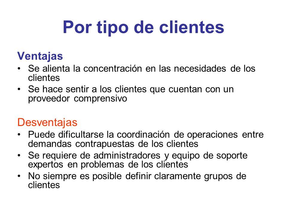 Por tipo de clientes Ventajas Se alienta la concentración en las necesidades de los clientes Se hace sentir a los clientes que cuentan con un proveedo