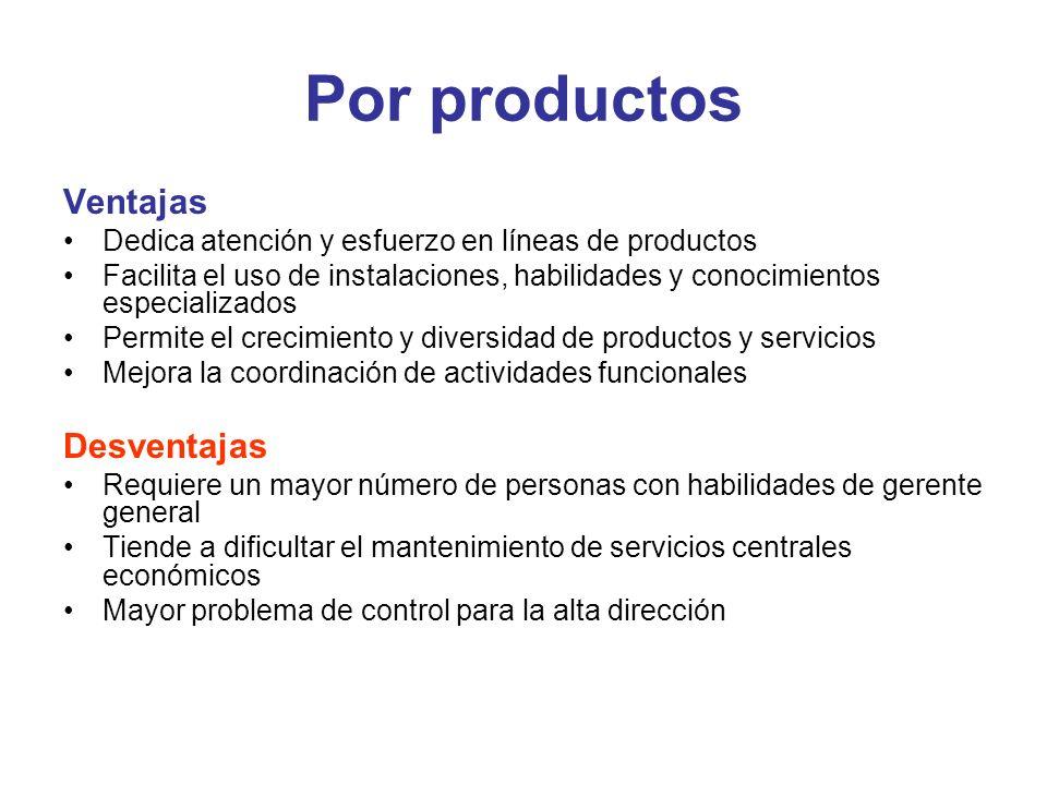 Por productos Ventajas Dedica atención y esfuerzo en líneas de productos Facilita el uso de instalaciones, habilidades y conocimientos especializados