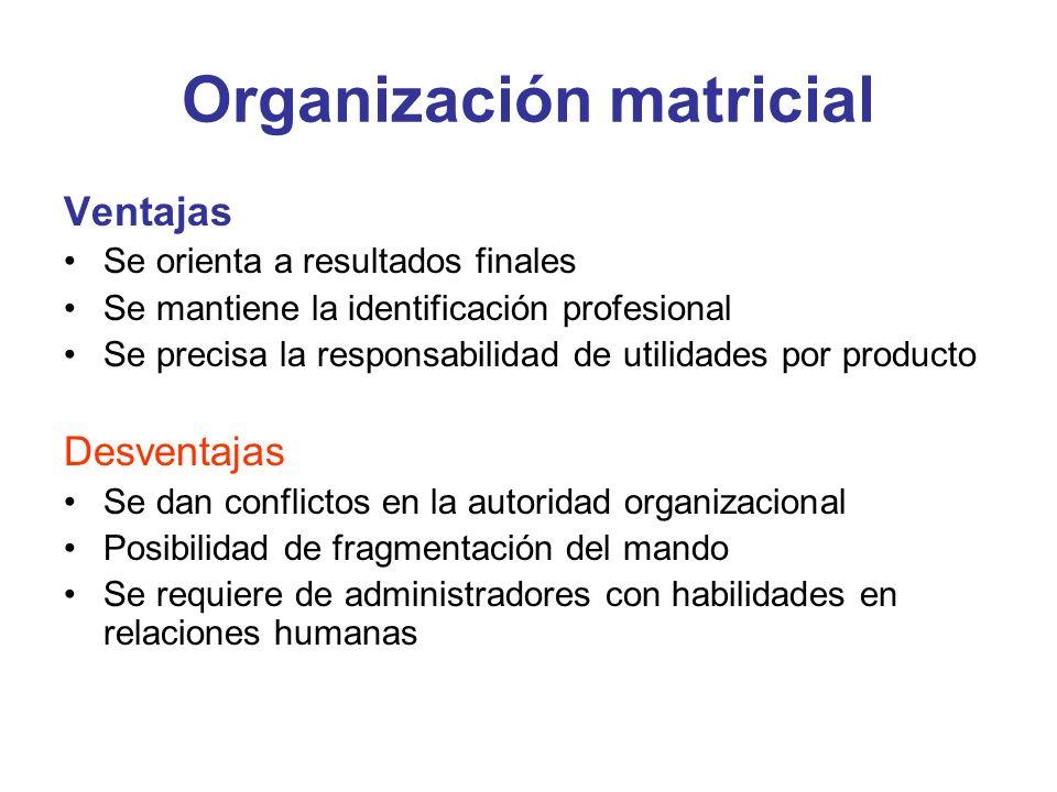 Organización matricial Ventajas Se orienta a resultados finales Se mantiene la identificación profesional Se precisa la responsabilidad de utilidades