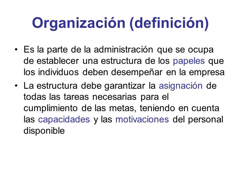 Organización (definición) Es la parte de la administración que se ocupa de establecer una estructura de los papeles que los individuos deben desempeña