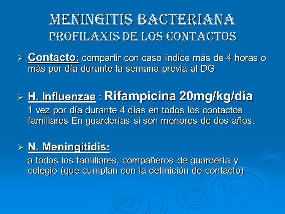 MENINGITIS BACTERIANA Profilaxis de los contactos Contacto : compartir con caso índice más de 4 horas o más por día durante la semana previa al DG Con