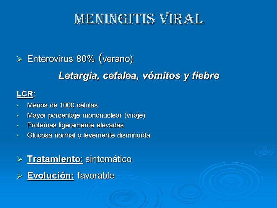 MENINGITIS VIRAL Enterovirus 80% ( verano) Enterovirus 80% ( verano) Letargia, cefalea, vómitos y fiebre LCR: Menos de 1000 células Menos de 1000 célu