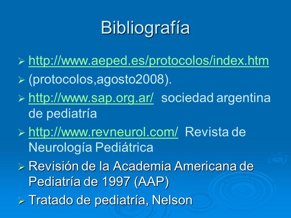 Bibliografía http://www.aeped.es/protocolos/index.htm (protocolos,agosto2008). http://www.sap.org.ar/ sociedad argentina de pediatría http://www.sap.o