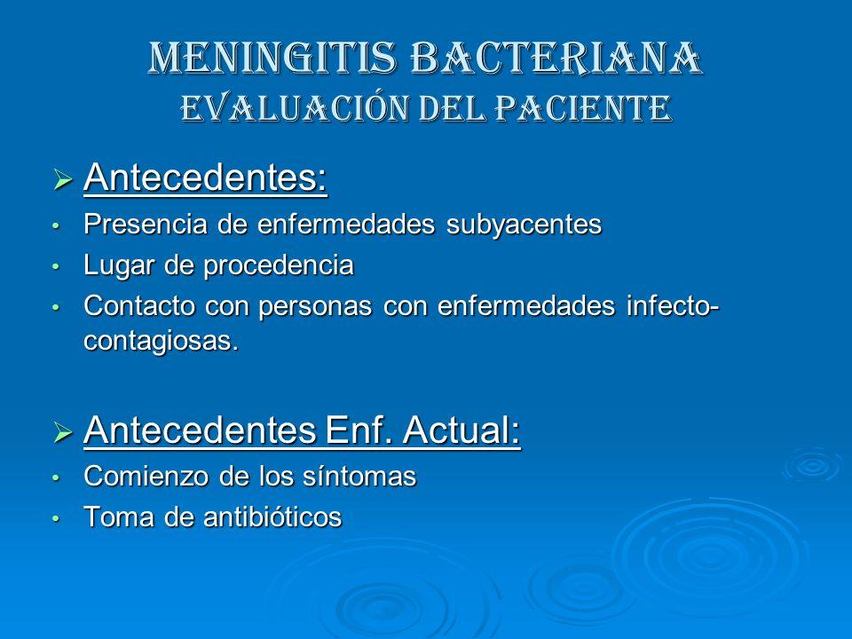 MENINGITIS BACTERIANA Evaluación del paciente Antecedentes: Antecedentes: Presencia de enfermedades subyacentes Presencia de enfermedades subyacentes
