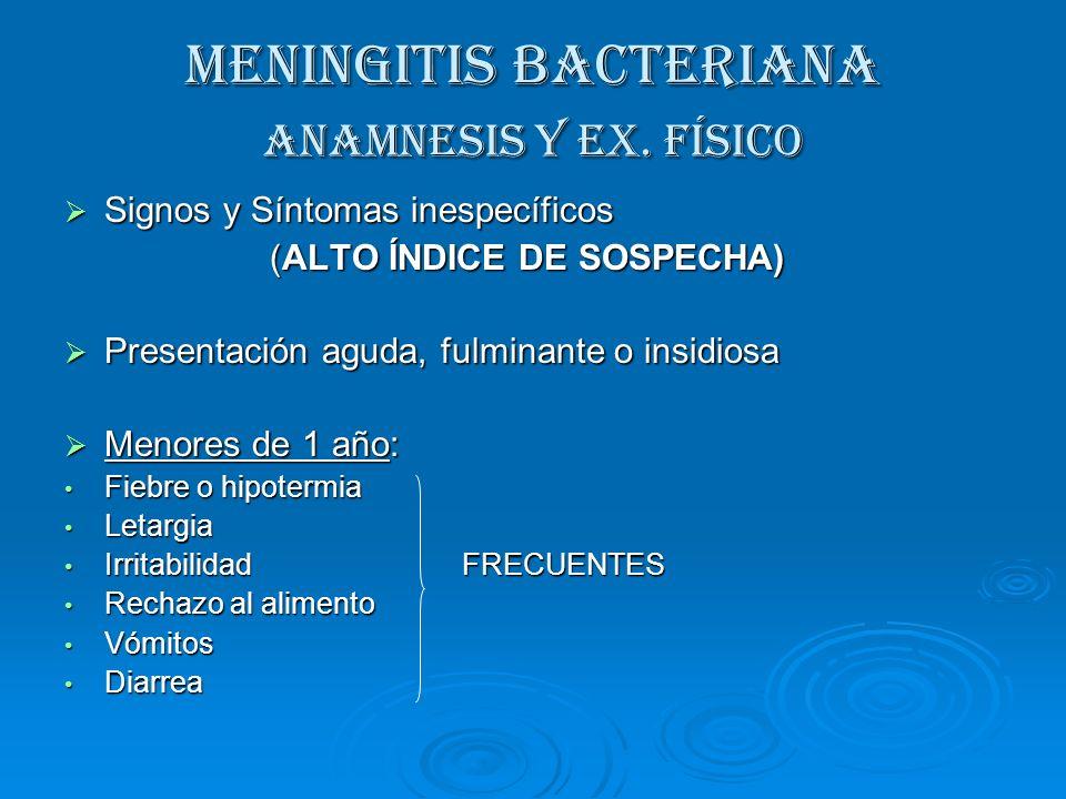 MENINGITIS BACTERIANA Anamnesis y Ex. Físico Signos y Síntomas inespecíficos Signos y Síntomas inespecíficos (ALTO ÍNDICE DE SOSPECHA) (ALTO ÍNDICE DE