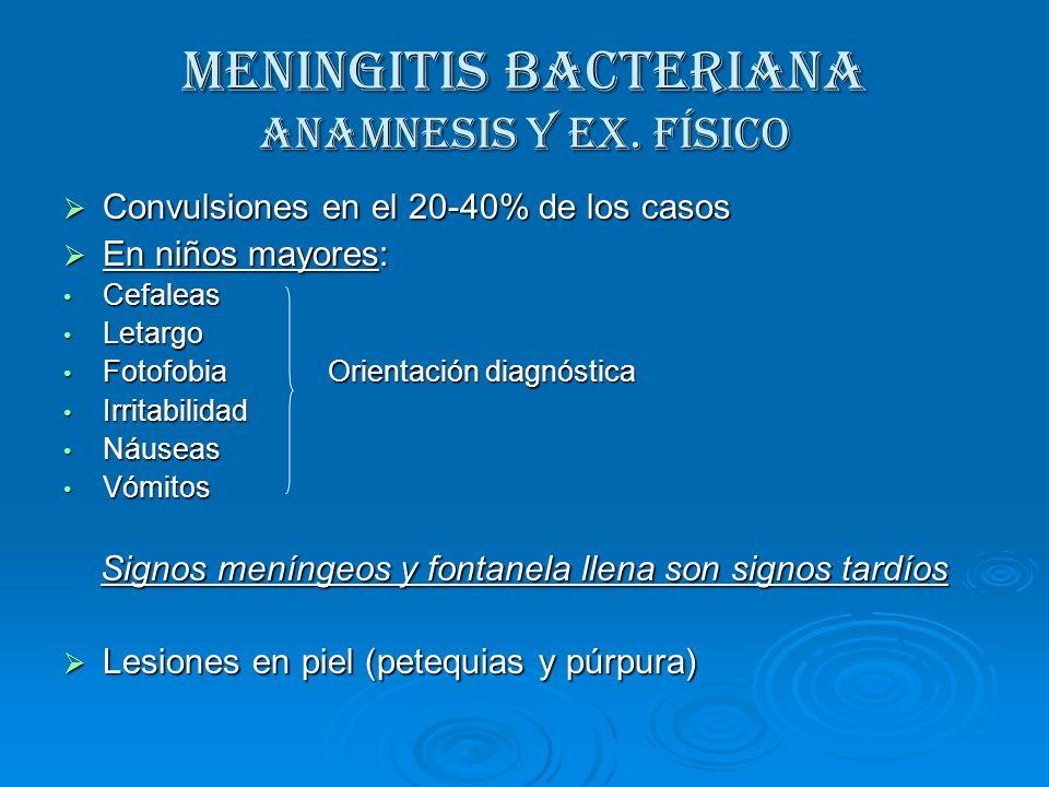 MENINGITIS BACTERIANA Anamnesis y Ex. Físico Convulsiones en el 20-40% de los casos Convulsiones en el 20-40% de los casos En niños mayores: En niños