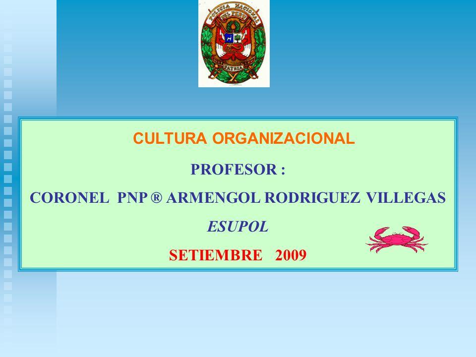 CULTURA ORGANIZACIONAL PROFESOR : CORONEL PNP ® ARMENGOL RODRIGUEZ VILLEGAS ESUPOL SETIEMBRE 2009
