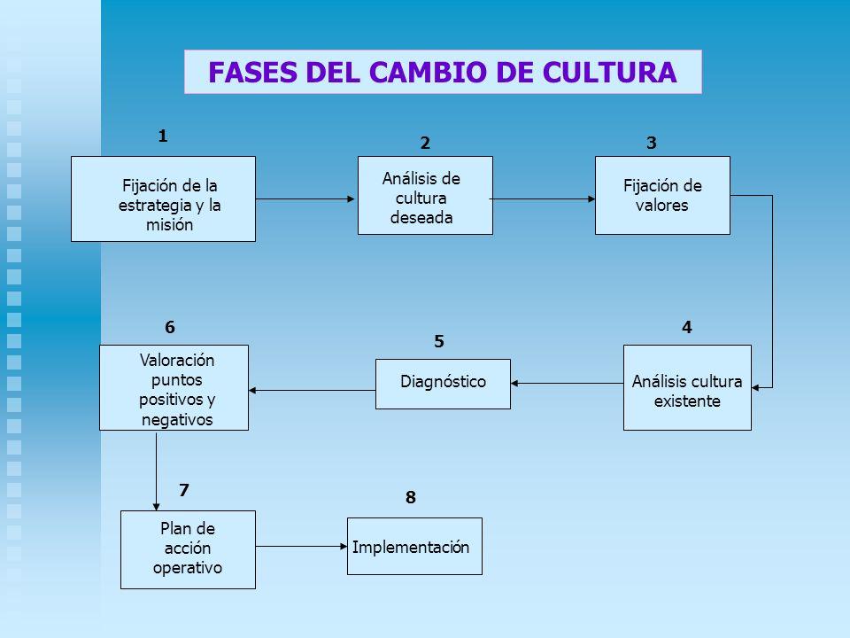 FASES DEL CAMBIO DE CULTURA Fijación de la estrategia y la misión Fijación de valores Análisis de cultura deseada Análisis cultura existente Diagnósti