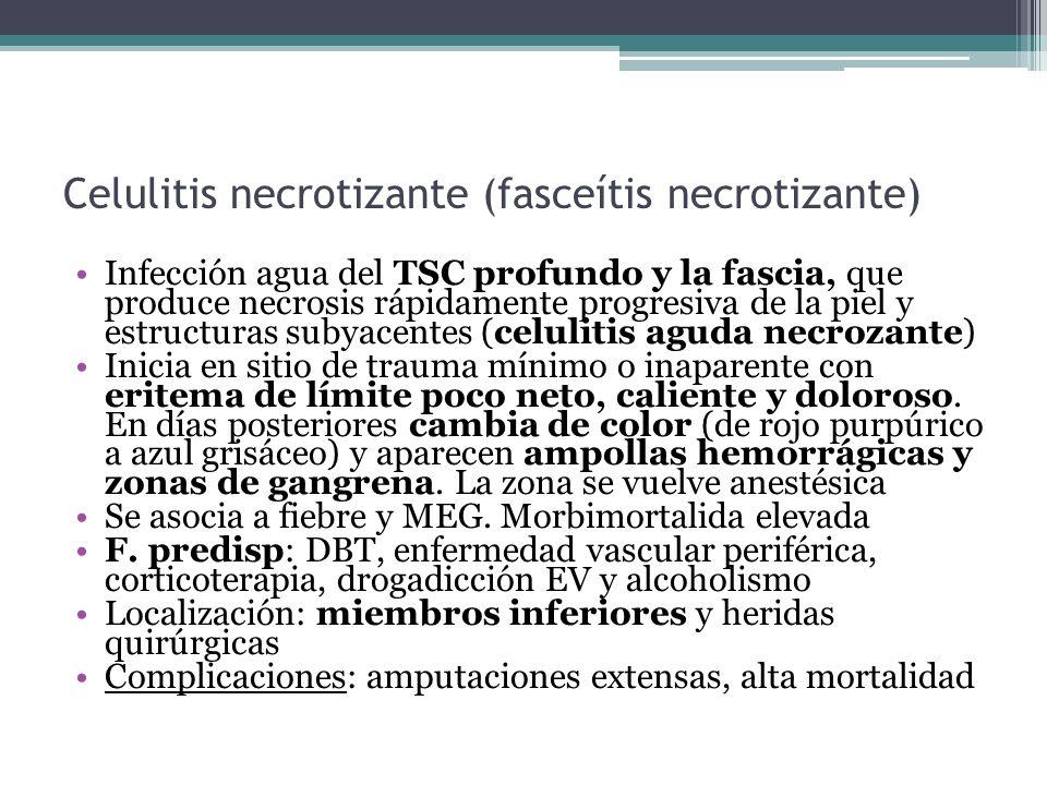 Celulitis necrotizante (fasceítis necrotizante) Infección agua del TSC profundo y la fascia, que produce necrosis rápidamente progresiva de la piel y