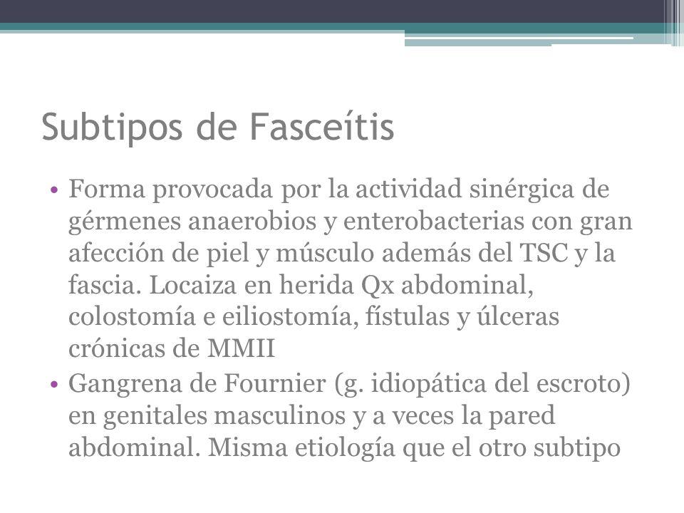 Subtipos de Fasceítis Forma provocada por la actividad sinérgica de gérmenes anaerobios y enterobacterias con gran afección de piel y músculo además d
