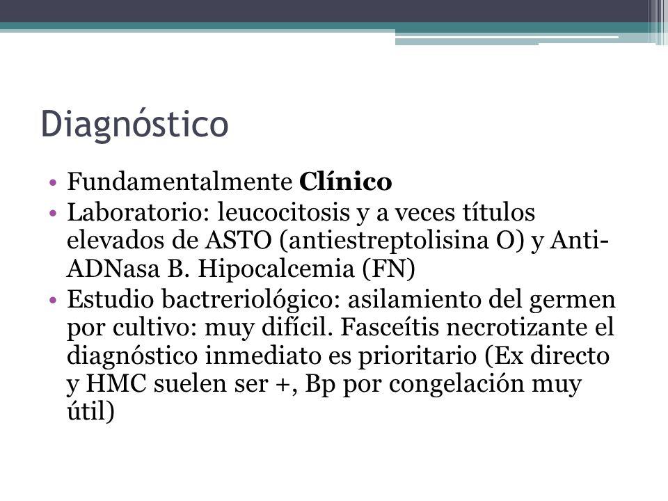 Diagnóstico Fundamentalmente Clínico Laboratorio: leucocitosis y a veces títulos elevados de ASTO (antiestreptolisina O) y Anti- ADNasa B. Hipocalcemi