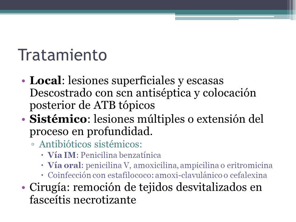 Tratamiento Local: lesiones superficiales y escasas Descostrado con scn antiséptica y colocación posterior de ATB tópicos Sistémico: lesiones múltiple