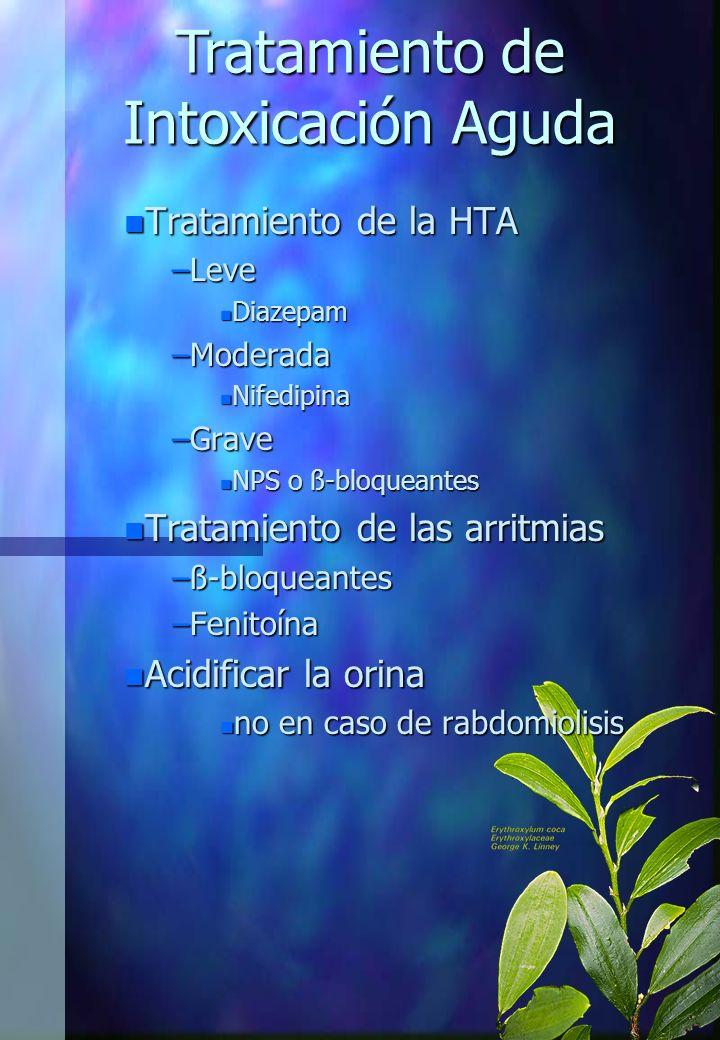 n Tratamiento de la HTA –Leve n Diazepam –Moderada n Nifedipina –Grave n NPS o ß-bloqueantes n Tratamiento de las arritmias –ß-bloqueantes –Fenitoína