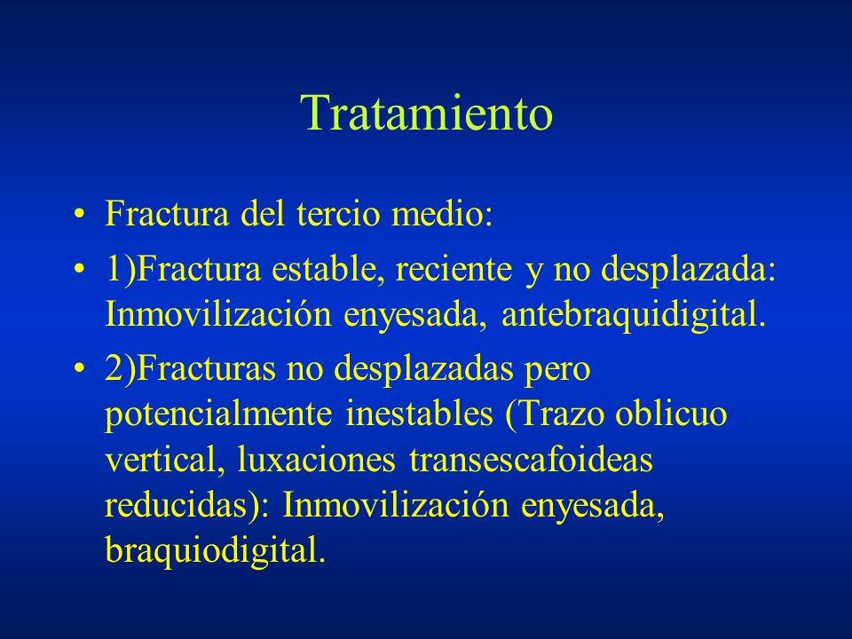 Tratamiento Fractura del tercio medio: 1)Fractura estable, reciente y no desplazada: Inmovilización enyesada, antebraquidigital. 2)Fracturas no despla