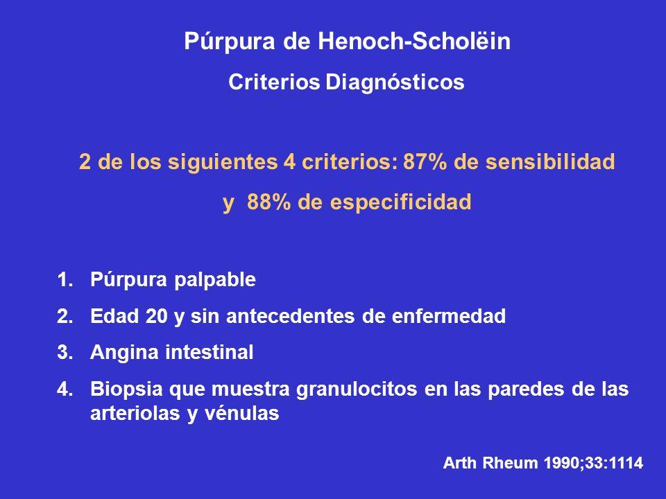 Púrpura de Henoch-Scholëin Criterios Diagnósticos 2 de los siguientes 4 criterios: 87% de sensibilidad y 88% de especificidad 1.Púrpura palpable 2.Eda