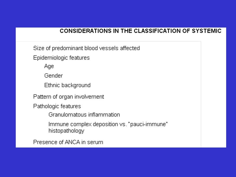 Angeitis Leucocitoclástica Cutánea Criterios Diagnósticos 3 de los siguientes 5 criterios: 71% de sensibilidad y 84% de especificidad 1.Edad >16 años 2.Medicación tomada 3.Púrpura palpable 4.Rash maculopapular 5.Biopsia que muestra granulocitos en localización perivascular o extravascular Arth Rheum 1990;33:1108