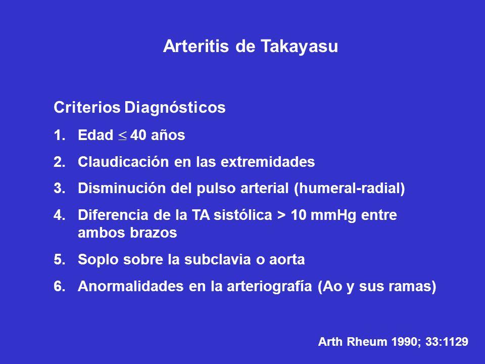 Arteritis de Takayasu Criterios Diagnósticos 1.Edad 40 años 2.Claudicación en las extremidades 3.Disminución del pulso arterial (humeral-radial) 4.Dif