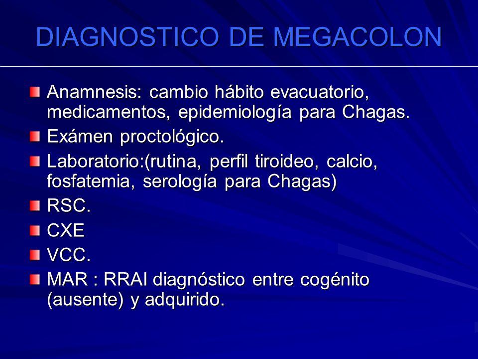DIAGNOSTICO DE MEGACOLON Anamnesis: cambio hábito evacuatorio, medicamentos, epidemiología para Chagas. Exámen proctológico. Laboratorio:(rutina, perf