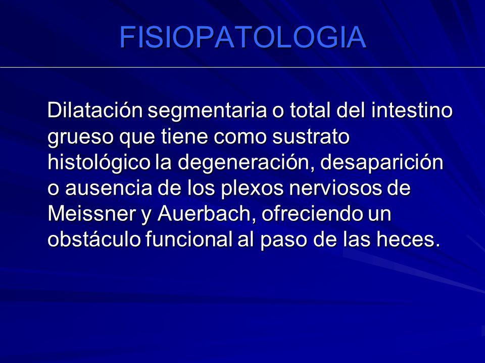 FISIOPATOLOGIA Dilatación segmentaria o total del intestino grueso que tiene como sustrato histológico la degeneración, desaparición o ausencia de los plexos nerviosos de Meissner y Auerbach, ofreciendo un obstáculo funcional al paso de las heces.