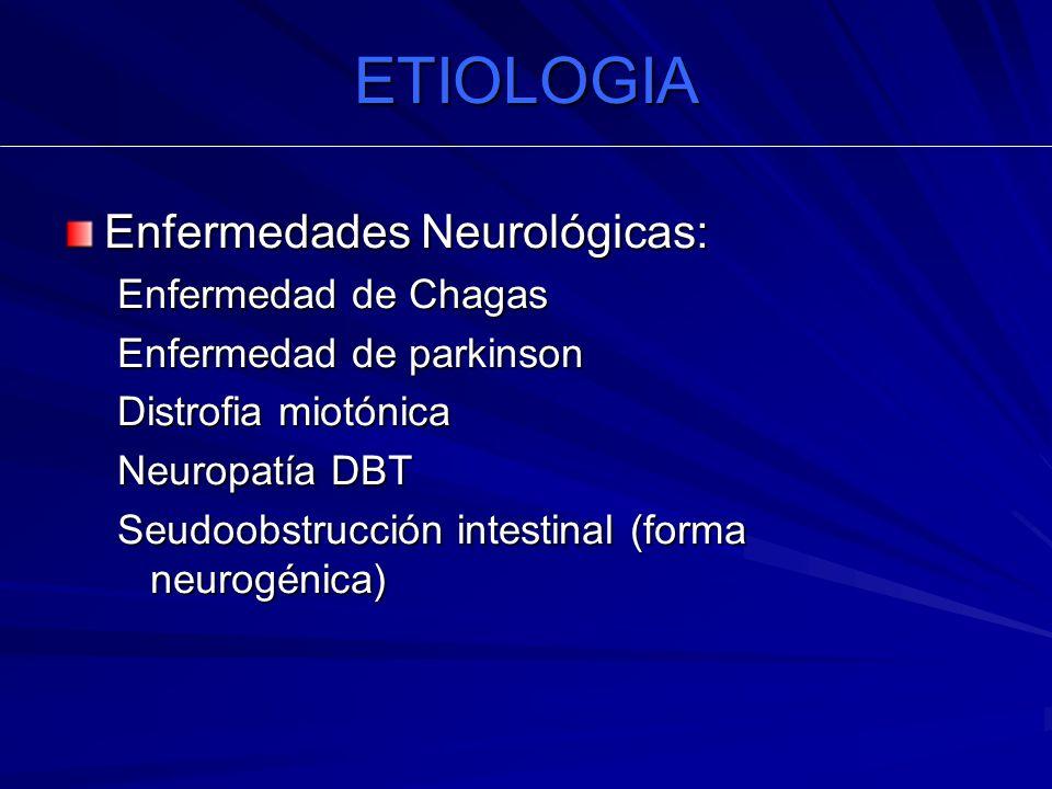 ETIOLOGIA Enfermedades Neurológicas: Enfermedad de Chagas Enfermedad de parkinson Distrofia miotónica Neuropatía DBT Seudoobstrucción intestinal (form