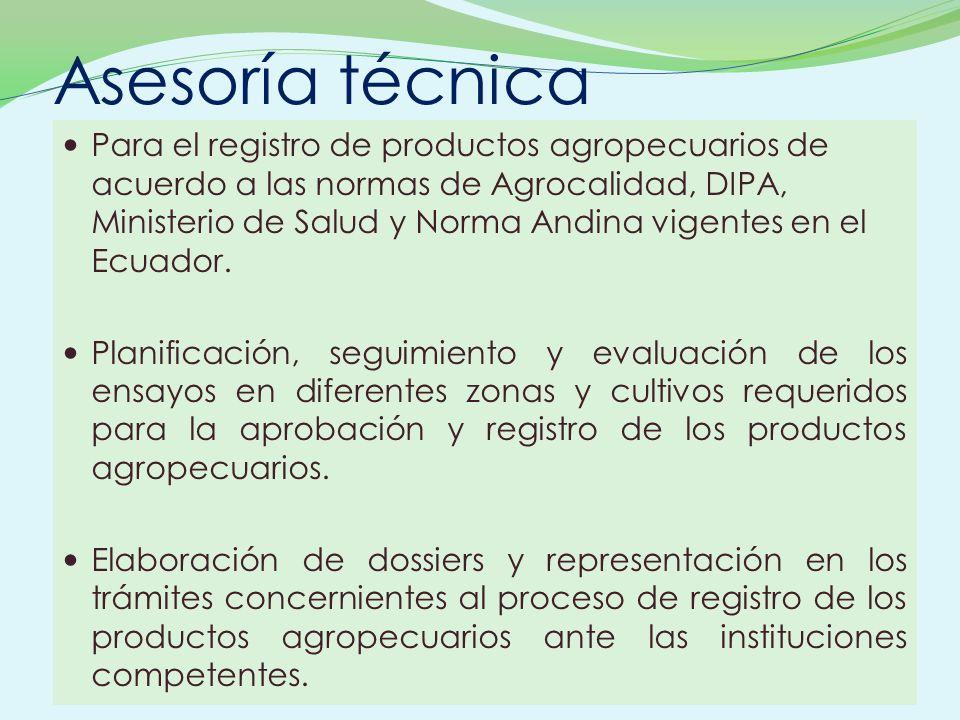 Asesoría técnica Para el registro de productos agropecuarios de acuerdo a las normas de Agrocalidad, DIPA, Ministerio de Salud y Norma Andina vigentes