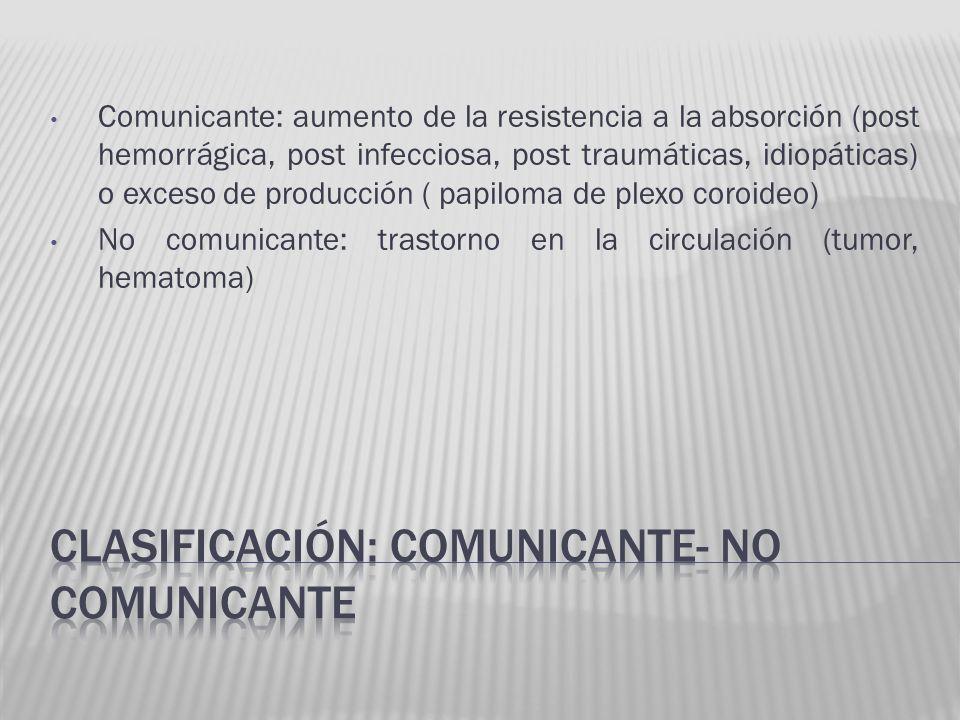 Comunicante: aumento de la resistencia a la absorción (post hemorrágica, post infecciosa, post traumáticas, idiopáticas) o exceso de producción ( papi
