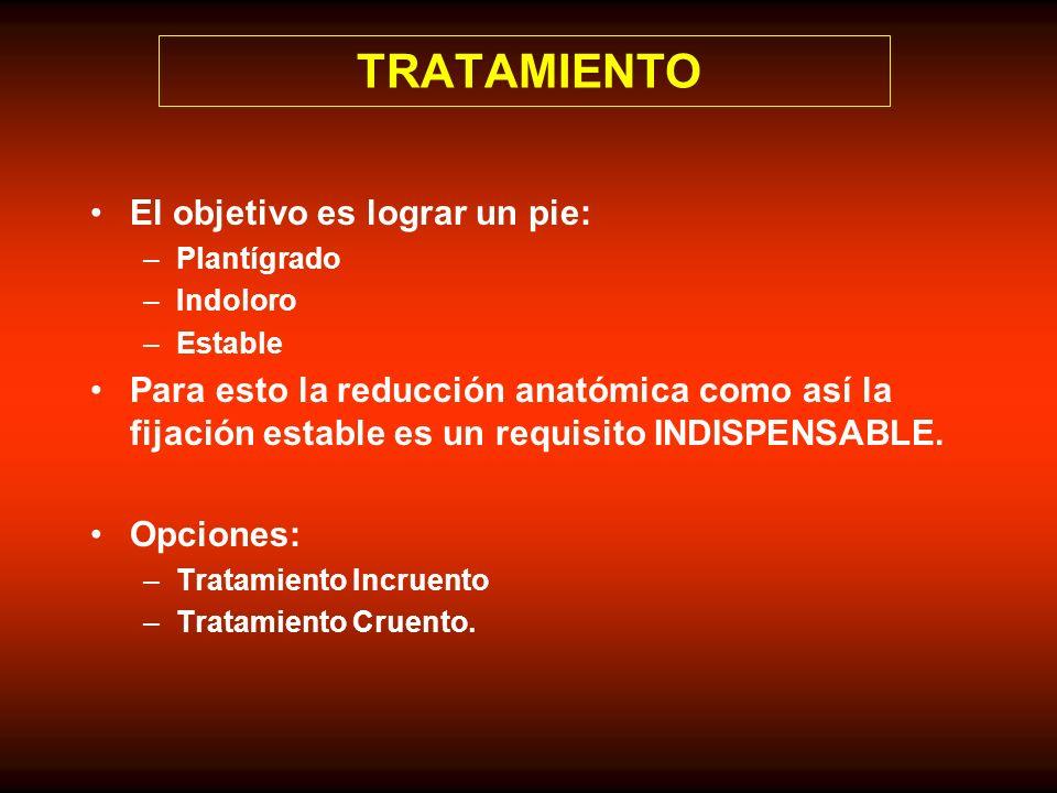 TRATAMIENTO El objetivo es lograr un pie: –Plantígrado –Indoloro –Estable Para esto la reducción anatómica como así la fijación estable es un requisit