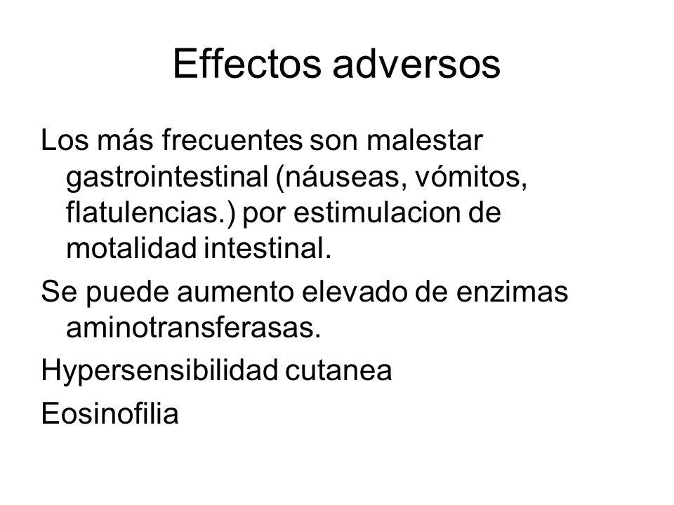 Effectos adversos Los más frecuentes son malestar gastrointestinal (náuseas, vómitos, flatulencias.) por estimulacion de motalidad intestinal. Se pued
