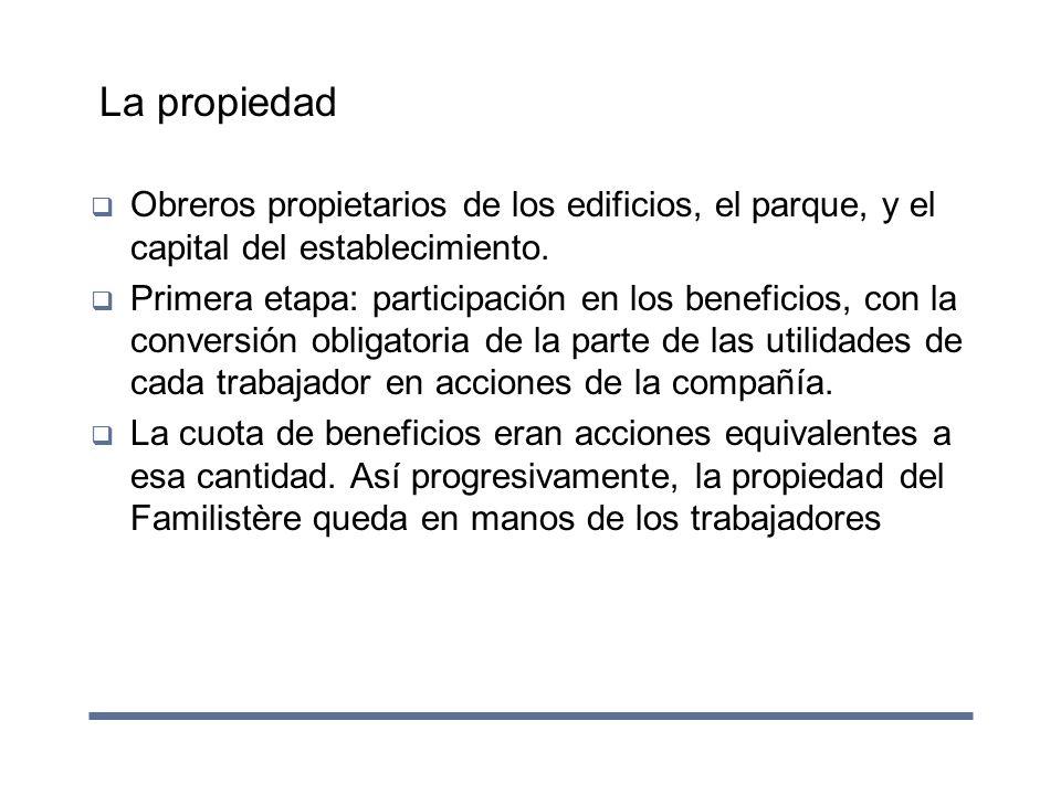 La propiedad Obreros propietarios de los edificios, el parque, y el capital del establecimiento. Primera etapa: participación en los beneficios, con l