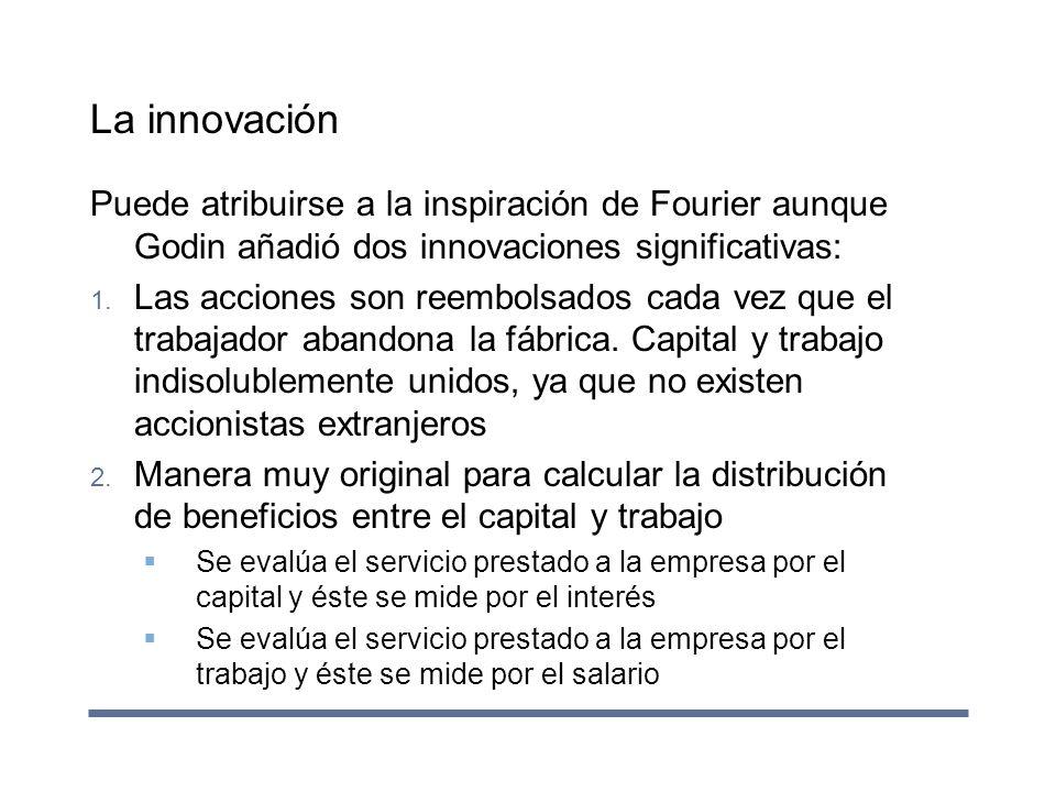 La innovación Puede atribuirse a la inspiración de Fourier aunque Godin añadió dos innovaciones significativas: 1. Las acciones son reembolsados cada