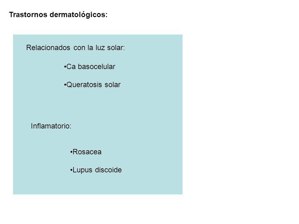 Trastornos dermatológicos: Relacionados con la luz solar: Ca basocelular Queratosis solar Inflamatorio: Rosacea Lupus discoide